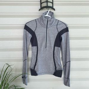 Grey Stripped Half Zip Pullover